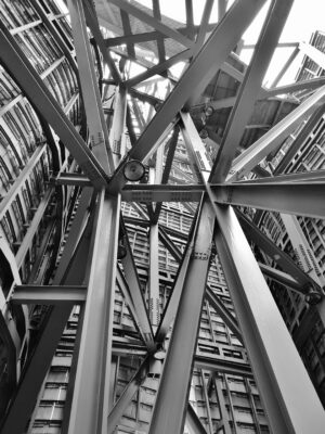 black and white image of a steel structure